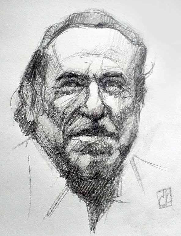 Retrato Charles Bukowski grafito