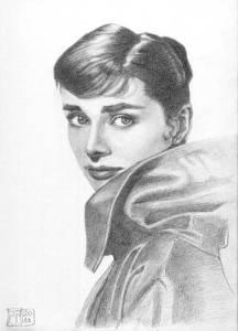 Retrato Audrey Hepburn dibujo