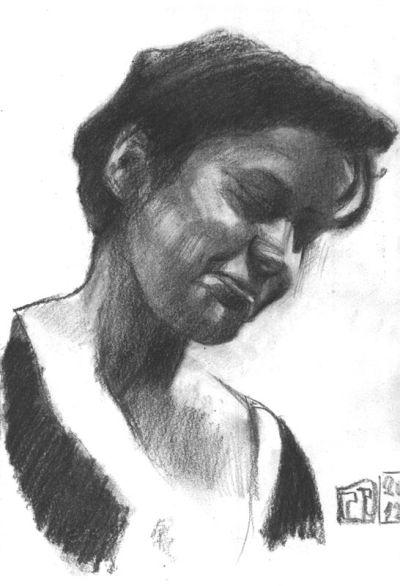 Retrato mujer al carboncillo