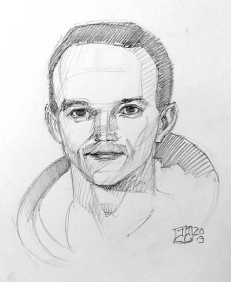Retrato Michael Collins - grafito.