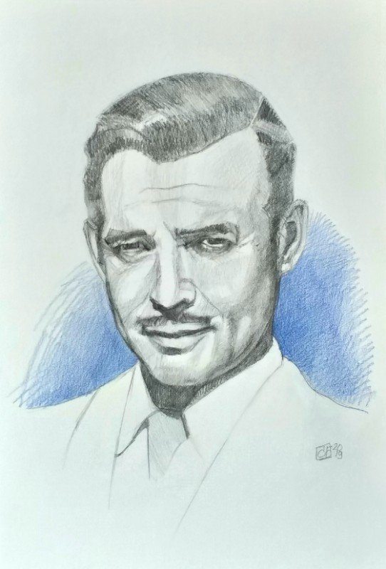 Retrato Clark Gable grafito