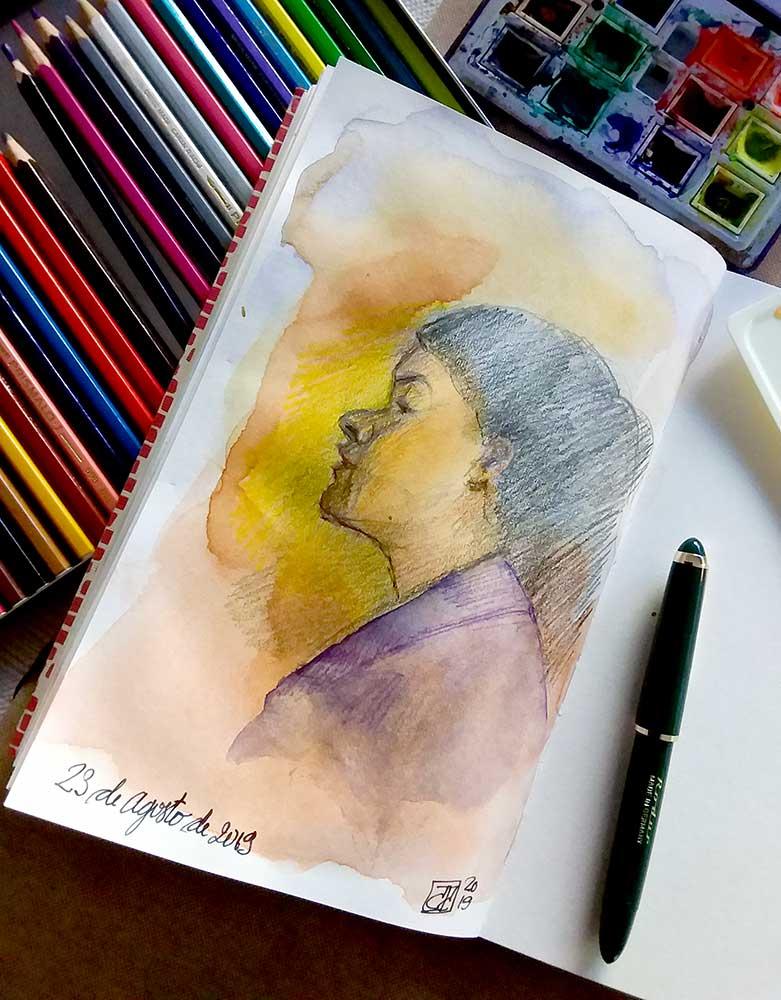 Retrato chica a la acuarela y grafito