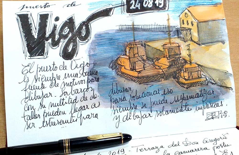 Puerto de Vigo, boceto a la acuarela