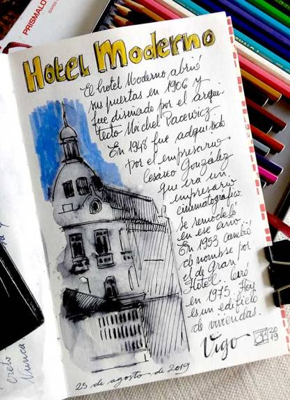 Boceto a tinta del Hotel Moderno, Vigo