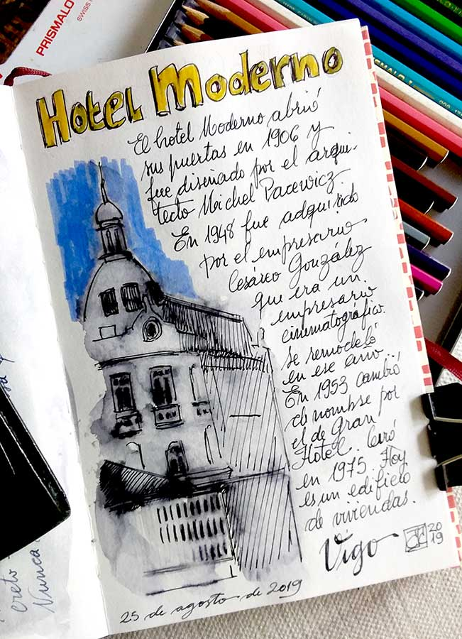 Boceto a tinta del Hote Moderno, Vigo