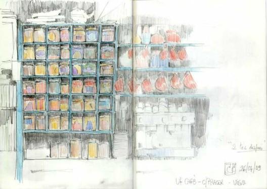 Mueble de tés lapices de colores