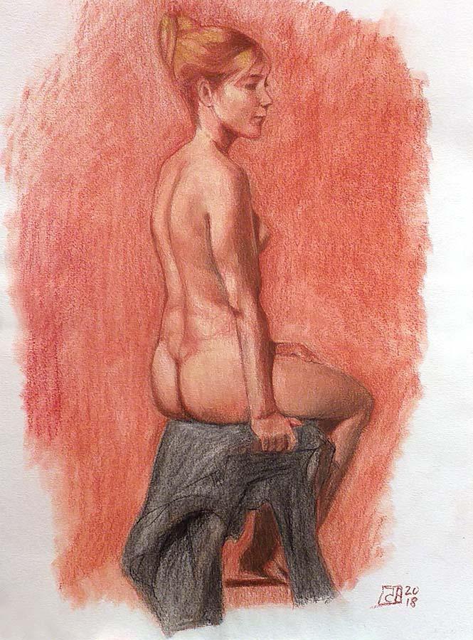 Dibujo Desnudo sanguina