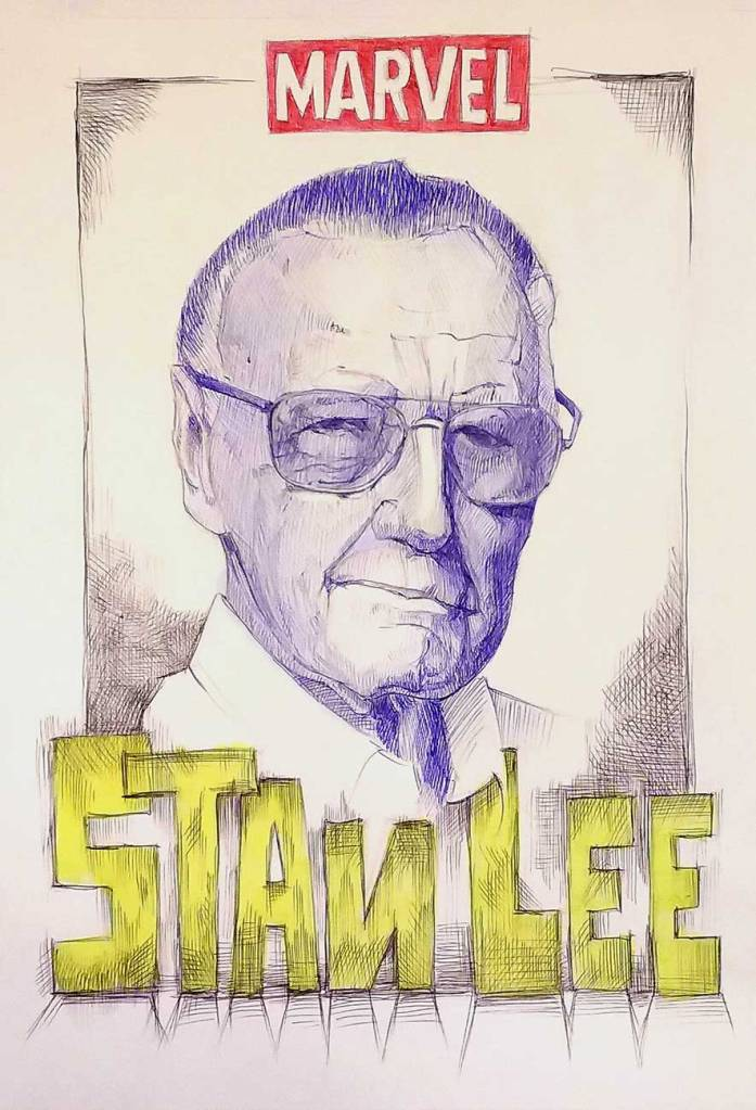 Retrato de Stan Lee, bolígrafo