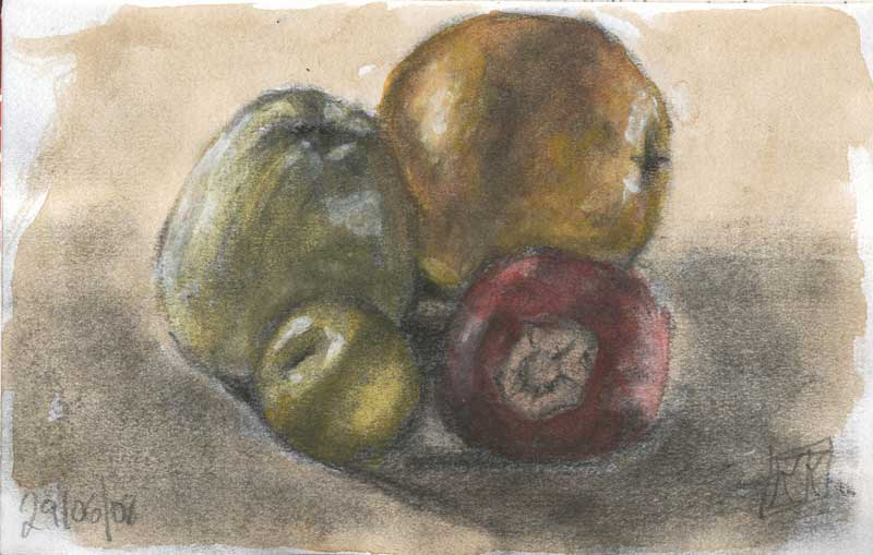 frutas carboncillo acuarela