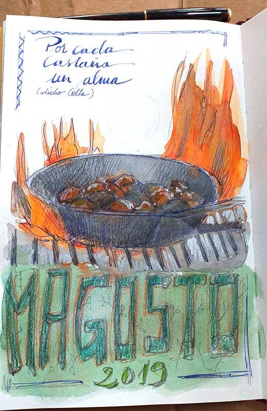 Dibujo Magosto, técnia mixta