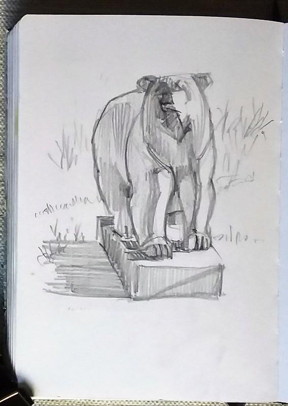 Dibujo oso polar, grafito