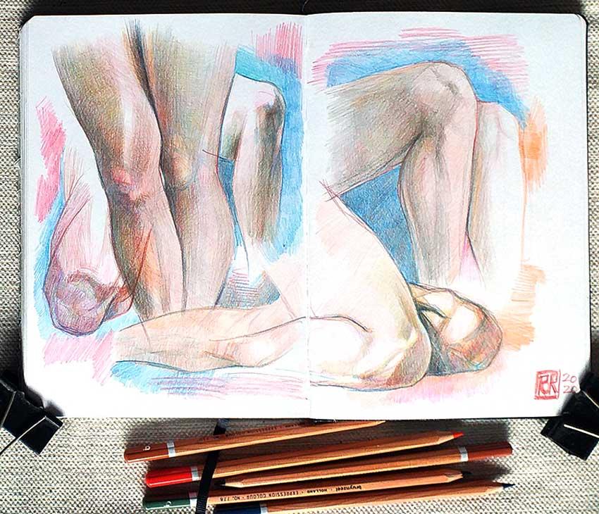 Piernas, lápices de colores