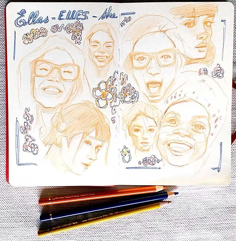 Dibujos lápiz de color, caras mujeres