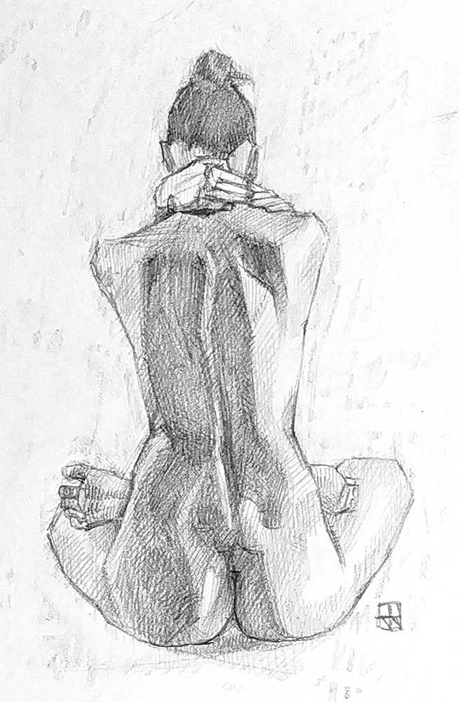 Desnudo de espalda, grafito.