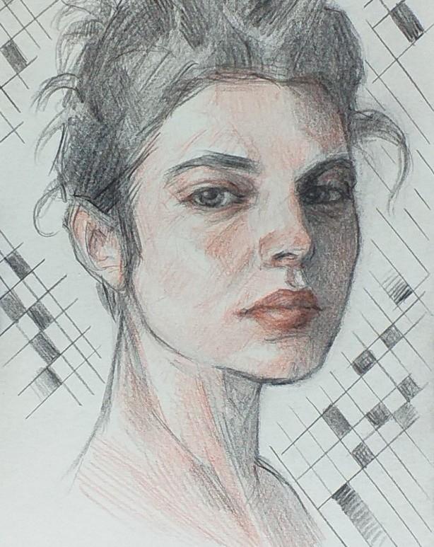 Retrato mujer lápices de color