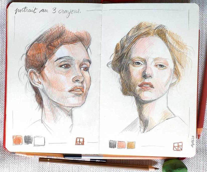 Retrato mujer, 3 colores.