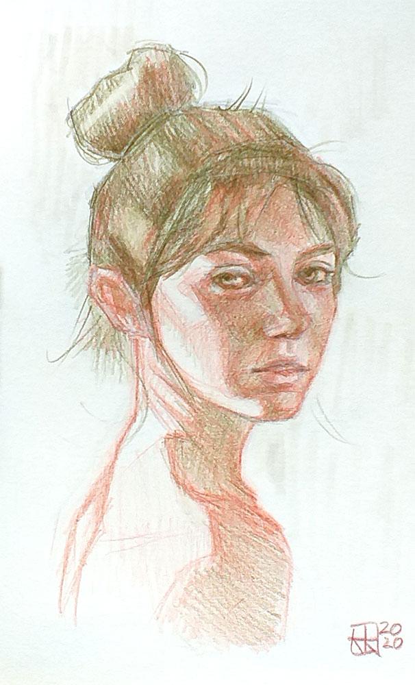 Retrato mujer lapices de colores