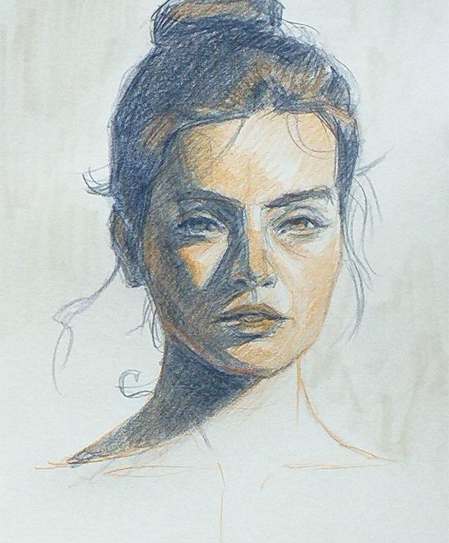 Retrato mujer lapices color