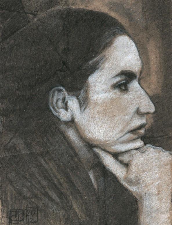 Retrato mujer carboncillo tiza blanca