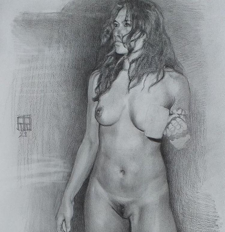 dibujo desnudo grafito